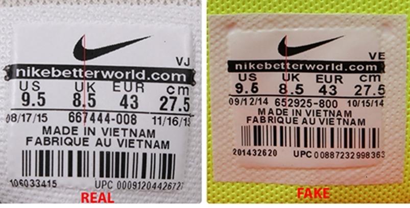 Phân biệt qua logo của giày Nike
